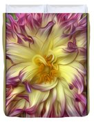 Pink Yellow Dahlia Duvet Cover