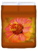 Pink Flower Wall Art Zinnia Floral Fine Art Duvet Cover