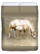 Pinto Mare And Filly Duvet Cover