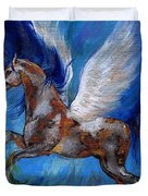 Pinto Pegasus With Blue Mane Duvet Cover