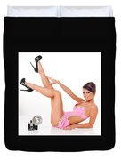 Pinup Girl In Pink Duvet Cover