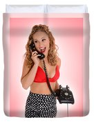 Pinup Girl On The Phone Duvet Cover