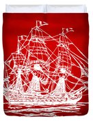 Pirate Ship Artwork - Red Duvet Cover