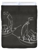 Pirate Ship Patent Artwork - Gray Duvet Cover by Nikki Marie Smith