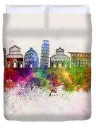 Pisa Skyline In Watercolor Background Duvet Cover