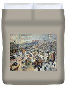 Pissarro's Boulevard Des Italiens In Morning Sunlight Duvet Cover