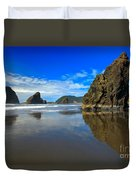 Pistol River Sea Stacks Duvet Cover by Adam Jewell