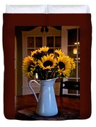 Pitcher Of Sunflowers Duvet Cover