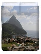 Pitons St. Lucia Duvet Cover