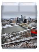 Pittsburgh Duquesne Incline Winter Duvet Cover