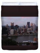 Pittsburgh Aerial Skyline At Sunset 3 Duvet Cover
