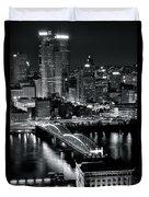 Pittsburgh Black And White  Duvet Cover