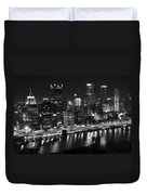 Pittsburgh Black And White Night Duvet Cover