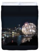 Pittsburgh Fireworks At Night Duvet Cover
