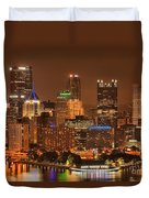 Pittsburgh Lights Under Cloudy Skies Duvet Cover