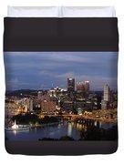 Pittsburgh Skyline At Dusk From Mount Washington Duvet Cover