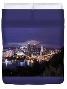Pittsburgh Skyline At Night From Mount Washington 3 Duvet Cover