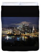 Pittsburgh Skyline At Night From Mount Washington 4 Duvet Cover