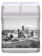 Pittsburgh Skyline From Mount Washington Black And White Duvet Cover