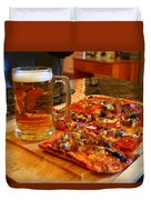 Pizza And Beer Duvet Cover
