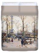 Place De La Bastille Paris Duvet Cover by Eugene Galien-Laloue