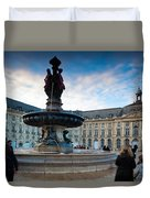 Place De La Bourse Buildings At Dusk Duvet Cover