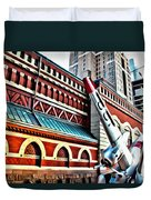 Plane In The City Duvet Cover