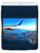 Plane Over Miami Duvet Cover