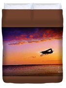 Plane Pass At Sunset Duvet Cover