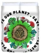 Planet Earth Icon With Slogan Duvet Cover
