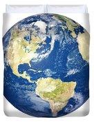 Planet Earth On White - America Duvet Cover