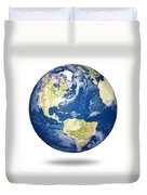 Planet Earth On White - America Duvet Cover by Johan Swanepoel