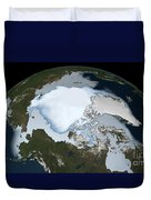 Planet Earth Showing Sea Ice Coverage Duvet Cover