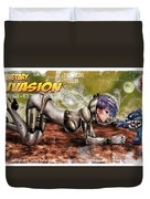 Planetary Invasion Duvet Cover by Pete Tapang