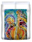 Play The Blues Bass Man Duvet Cover