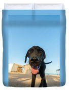 Playful Dog Closeup Duvet Cover