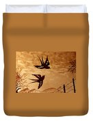 Playful Swallows Original Coffee Painting Duvet Cover