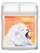 Playful White Lion Duvet Cover