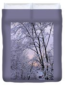 Playhouse Through Snow Duvet Cover