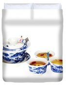 Playing Among Blue-and-white Porcelain Little People On Food Duvet Cover by Paul Ge