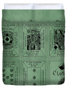 Playing Cards Patent Green Duvet Cover