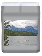 Playing In Colter Bay In Grand Teton National Park-wyoming Duvet Cover