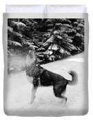 Playing In The Snow Duvet Cover by Carol Groenen