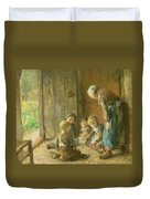 Playing Jacks On The Doorstep Duvet Cover by Bernardus Johannes Blommers