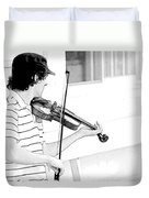 Playing Violin Duvet Cover