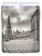 Plaza De Espana Seville Bw Duvet Cover