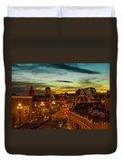 Plaza Lights At Sunset Duvet Cover