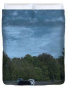 Pleasure Drive Paris Roads Tree Line And Wonderful Skyview Duvet Cover