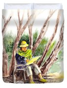Plein Air Artist At Work Duvet Cover by Irina Sztukowski