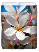 Plumerias Under A Blue Sky Duvet Cover